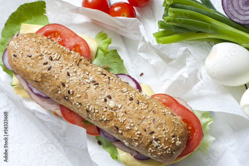 Sandwich on white paper