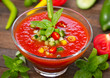 Fresh gazpacho on the table