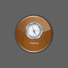 Glossy Compass. Vector Illustration wood application icons