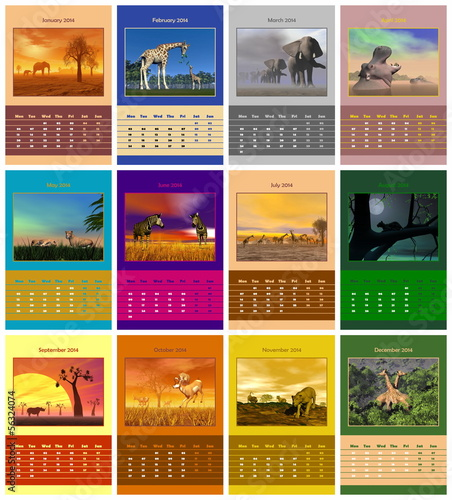 Safari calendar for 2014