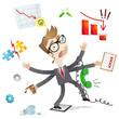 Businessman, multitasking, failing, no control