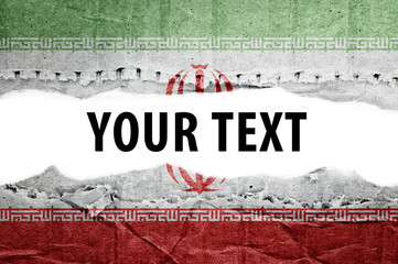 Iran flag with text space.