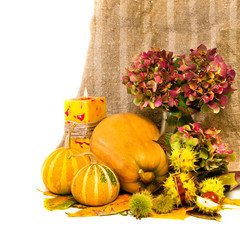 Harvested pumpkins with fall leaves, flowers and candle.