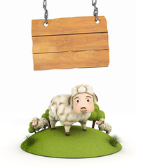 3d sheep with wooden