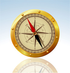 Golden compass. Vector.