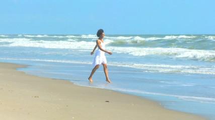 Smiling Young Female Enjoying Beach Lifestyle