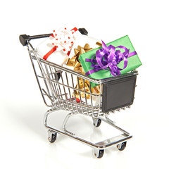 Shopping cart filled with christmas gifts