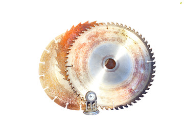 Three Saw Blades With Time Clock