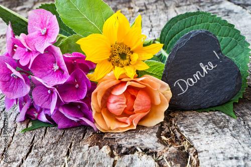 Hortensie, Sonnenblume, Rose, Schieferherz, Danke