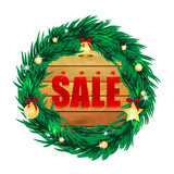 word sale on wooden boards in the frame of the christmas decorat