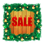 word sale on wooden boards in the frame of the christmas decora