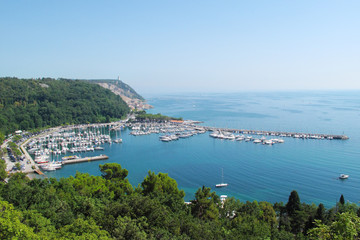 Bay with tourist resort in gulf of Trieste, Italy, Eu.