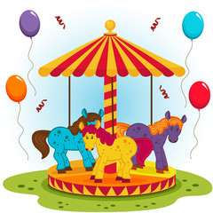 Children's carousel with horses - vector  illustration