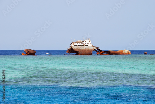 A wreck appearing on the surface in the straits of Tiran