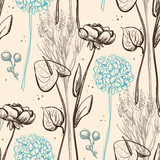 Vintage flower seamless pattern.