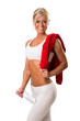 fitness woman with towel around her shoulder