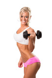 Fitness sport women smiling happy with dumbbell