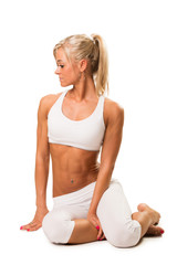 Slim fit woman resting ,after stretching exercise
