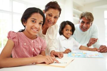Grandparents Helping Children With Homework