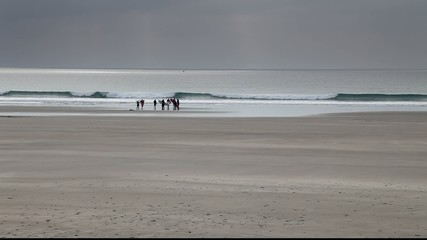 Long Shot / View of Surfers Entering Water