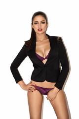 Sexy woman in purple lingerie