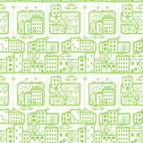 Vector doodle city streets seamless pattern background with hand