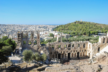View of Odeon theater and Mouseion hill from Acropolis, Athens