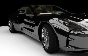 Rendergrafik Sportwagen Luxus schwarz