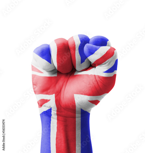 Fist of UK (United Kingdom) flag painted, multi purpose concept