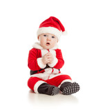 funny baby in Santa Claus clothes