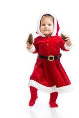 Santa Claus baby girl isolated on white background