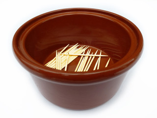 Clay Pot With Toothpicks In The Bottom