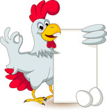 funny chicken cartoon posing with blank sign