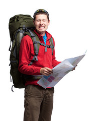 Lost hiker looking at map isolated on white background