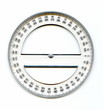 Leinwandbild Motiv A full circle protractor marked in degrees