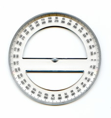 A full circle protractor marked in degrees