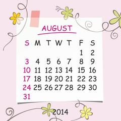 2014 calendar design. August.