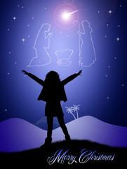 Christmas Nativity Scene in the sky