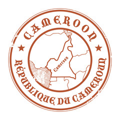 Stamp with the name and map of Cameroon, vector