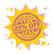 Stamp with the text 25 percent Off, Special Discount