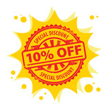 Stamp with the text 10 percent Off, Special Discount,