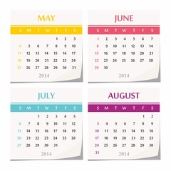 2014 calendar design - set of four months, quarter of the year.