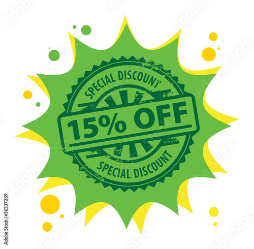 Stamp with the text 15 percent Off, Special Discount