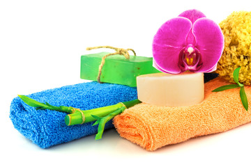 Spa concept from colorful towels and shower products