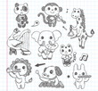 doodle animal music band icons set
