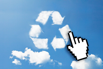 Digital icon hand  on recycle sign cloud shape