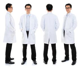 Asian male beauty therapist in beautician uniform