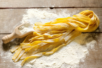 raw home made tagliatelle