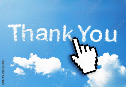 "Digital icon hand click on ""thank You"" cloud word"