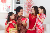 Asian family celebrate Chinese new year at home.